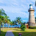 Kokospalme mit Leuchtturm und Meer
